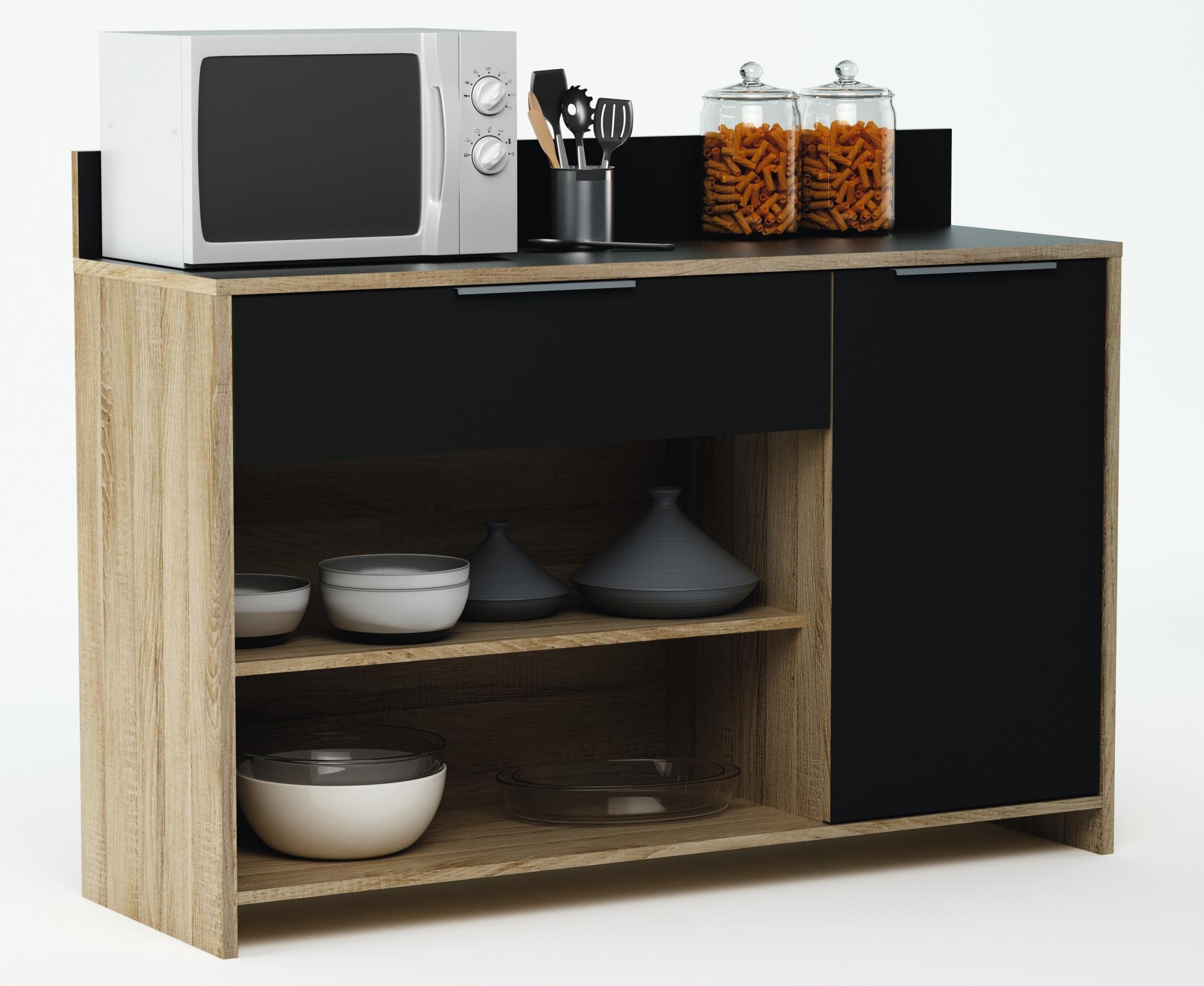 Meuble de rangement de cuisine chêne brut/noir Miky