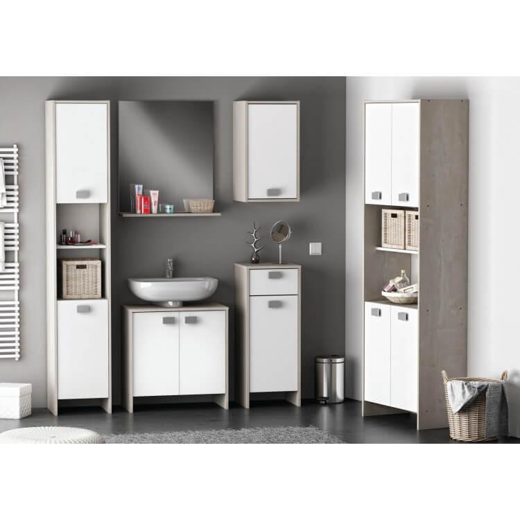 meuble sous lavabo de salle de bain contemporain blanc ch ne champagne honolulu matelpro. Black Bedroom Furniture Sets. Home Design Ideas