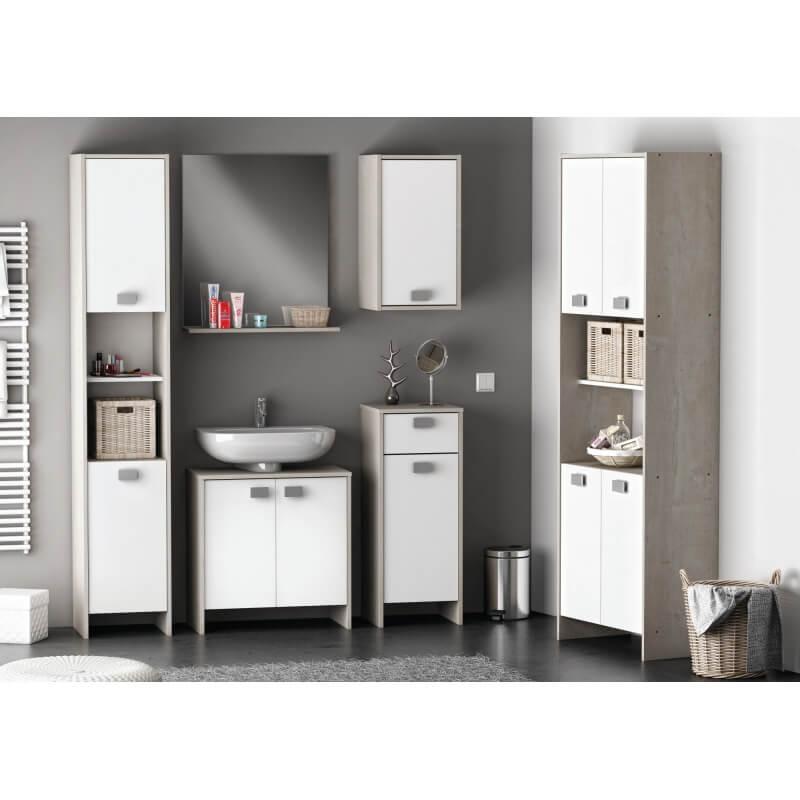 Meuble bas de salle de bain contemporain blanc ch ne champagne honolulu matelpro - Meuble bas de salle de bain ...