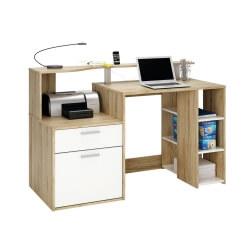 Bureau informatique contemporain chêne brossé/blanc Caracole