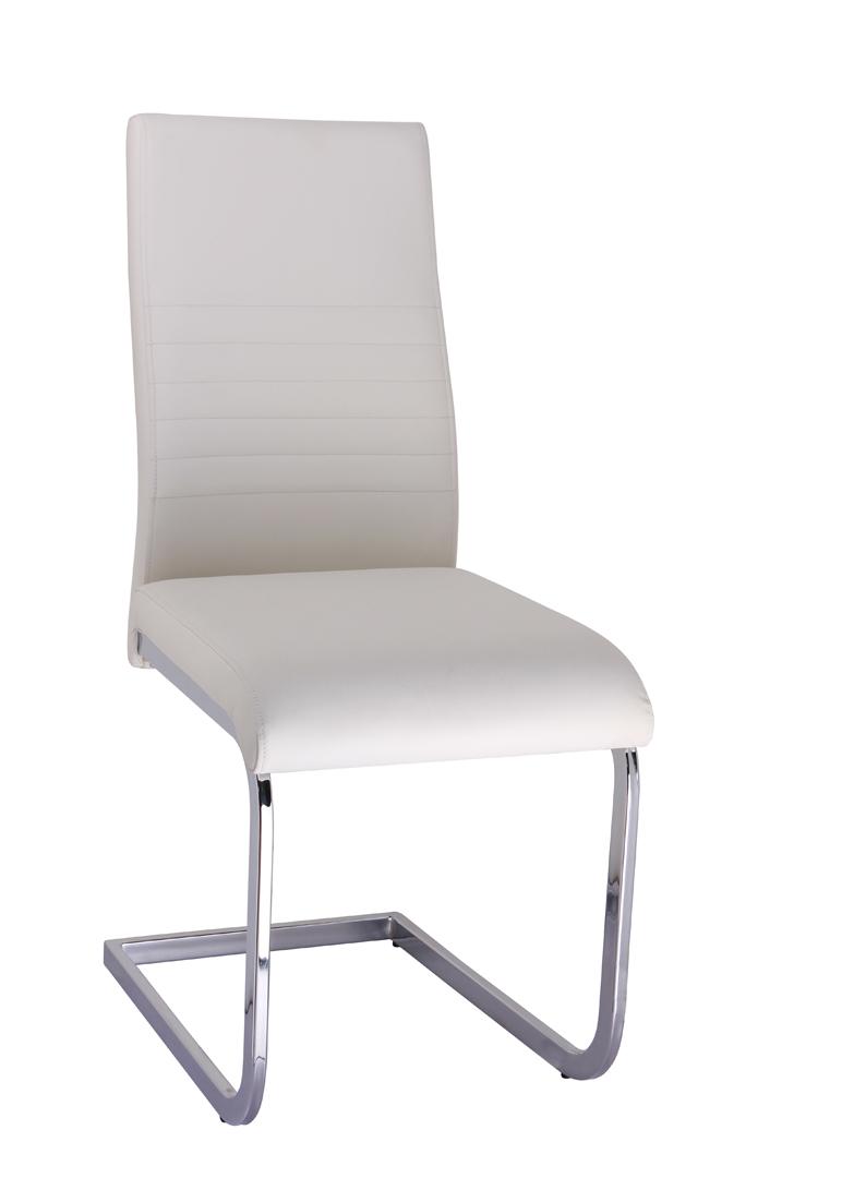 Chaise de salle à manger design en métal & PU coloris blanc (lot de 4) Paulo