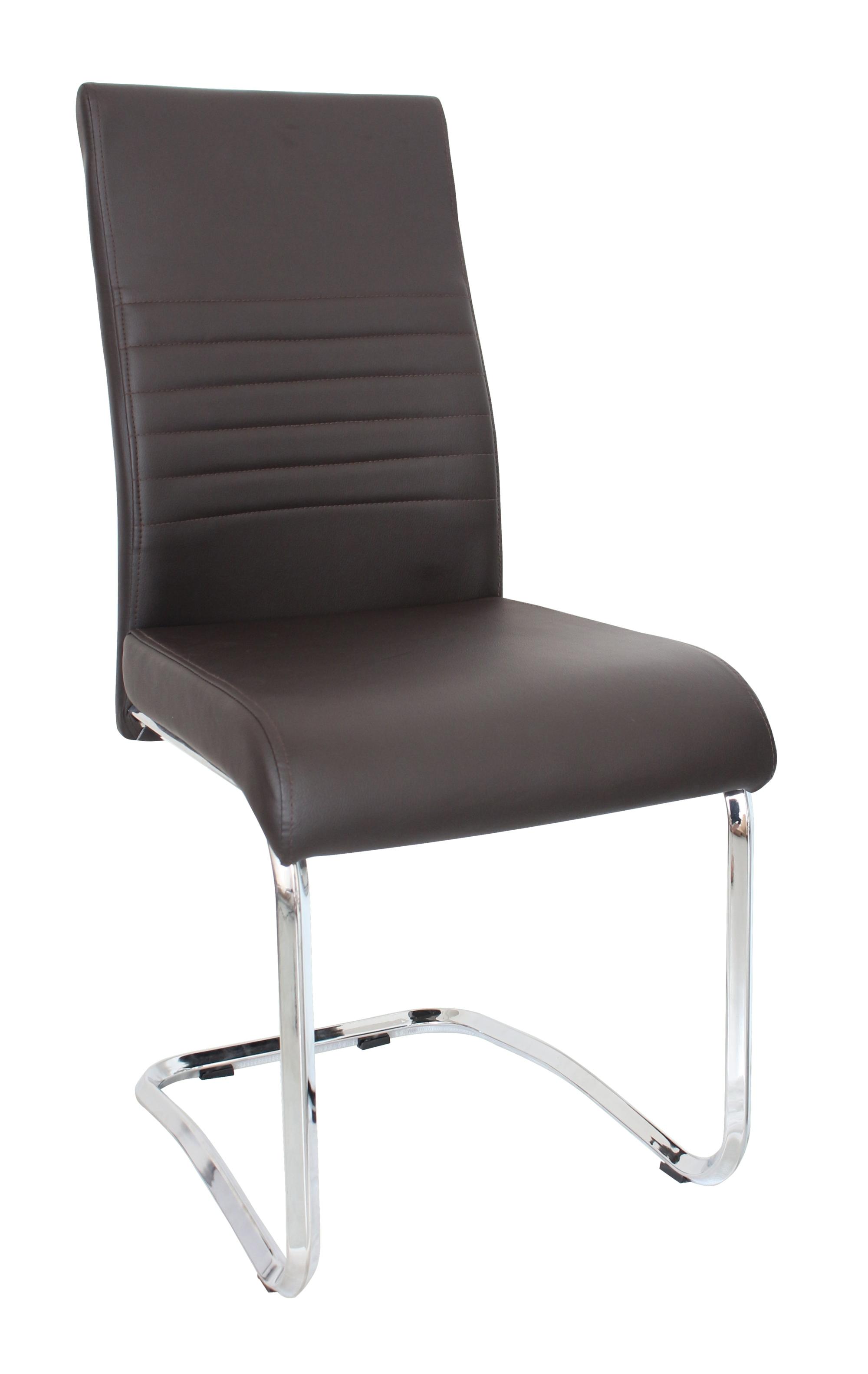 Chaise de salle à manger design en métal & PU coloris brun (lot de 4) Paulo