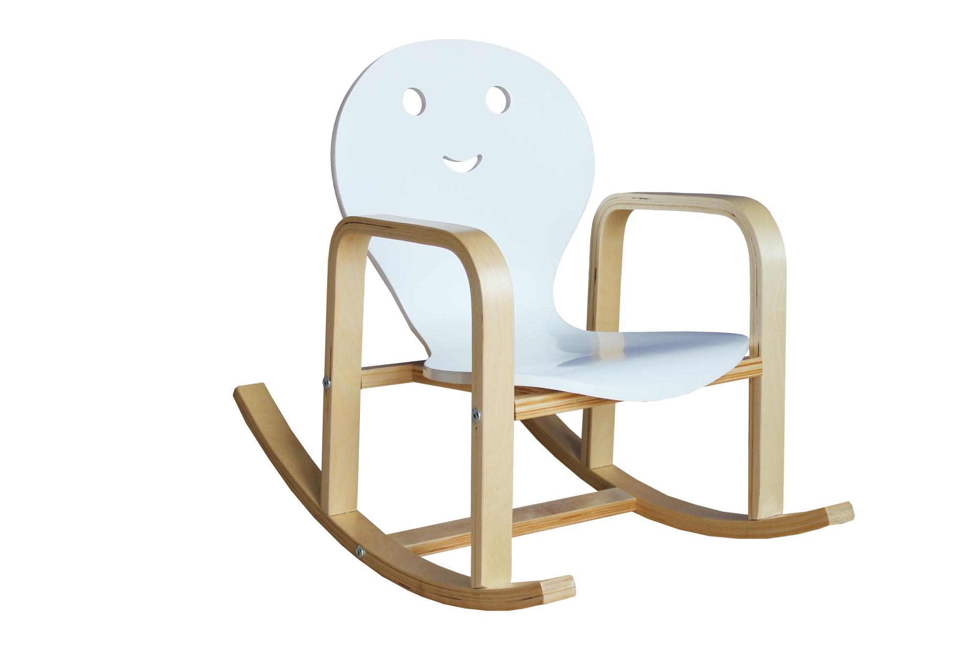 Fauteuil rocking chair enfant en bois coloris blanc Benny