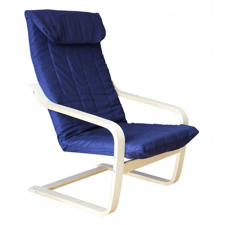 Fauteuil adulte contemporain bois & tissu coloris bleu Vladimir