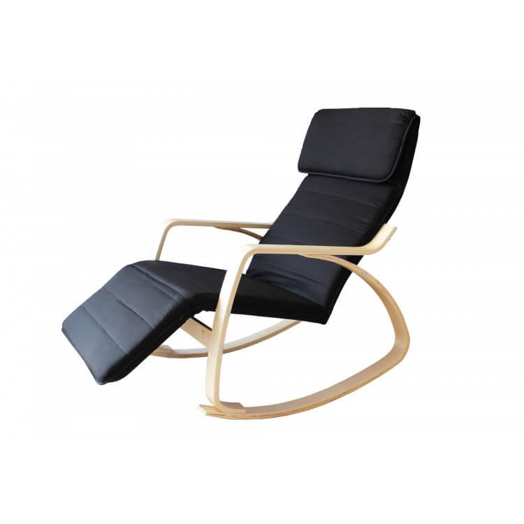 Fauteuil rocking chair adulte bois & tissu coloris noir Murphy