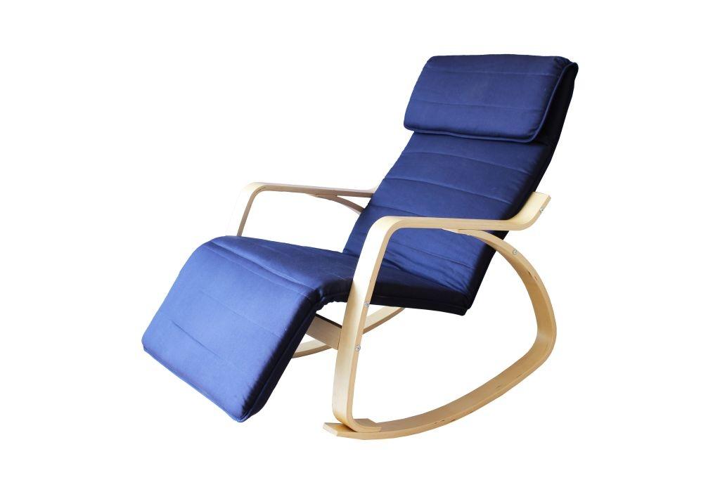 Fauteuil rocking chair adulte bois & tissu coloris bleu Murphy
