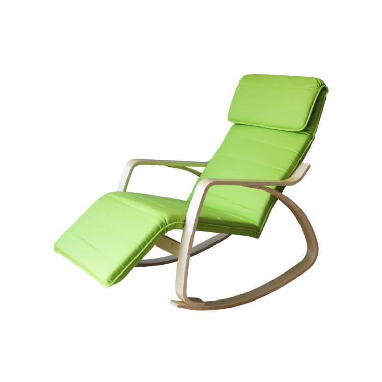 Fauteuil rocking chair adulte bois & tissu coloris vert Murphy