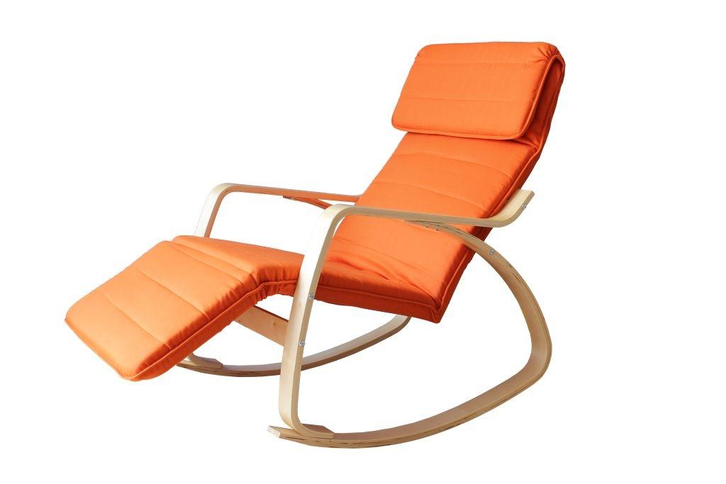 Fauteuil rocking chair adulte bois & tissu coloris terracotta Murphy
