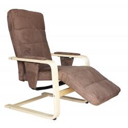 Fauteuil de relaxation manuel bois & tissu coloris brun/gris Ocibel