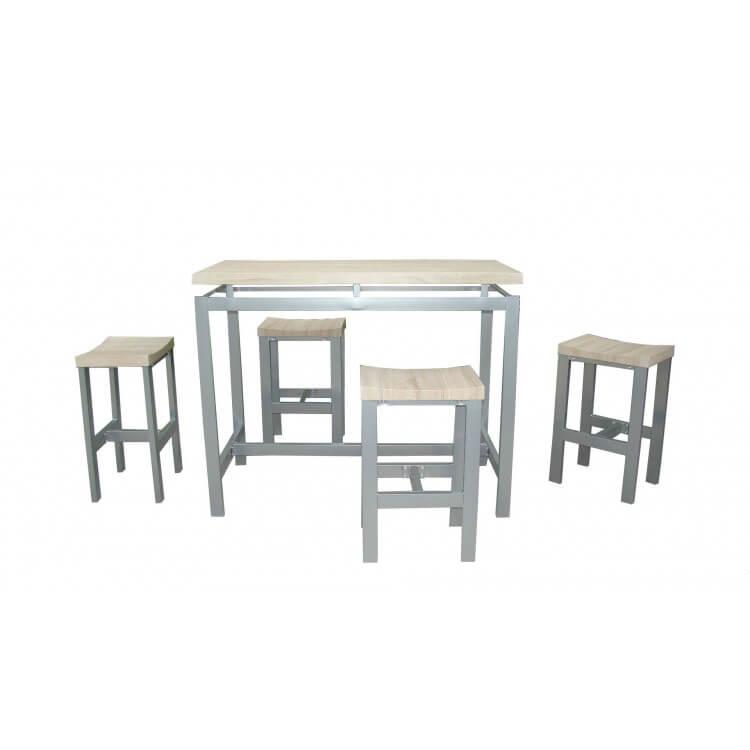 Ensemble table & 4 tabourets contemporain bois & métal Mansouri