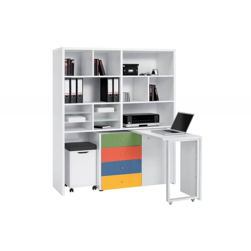 bureau modulable contemporain avec rangement coloris blanc cody. Black Bedroom Furniture Sets. Home Design Ideas
