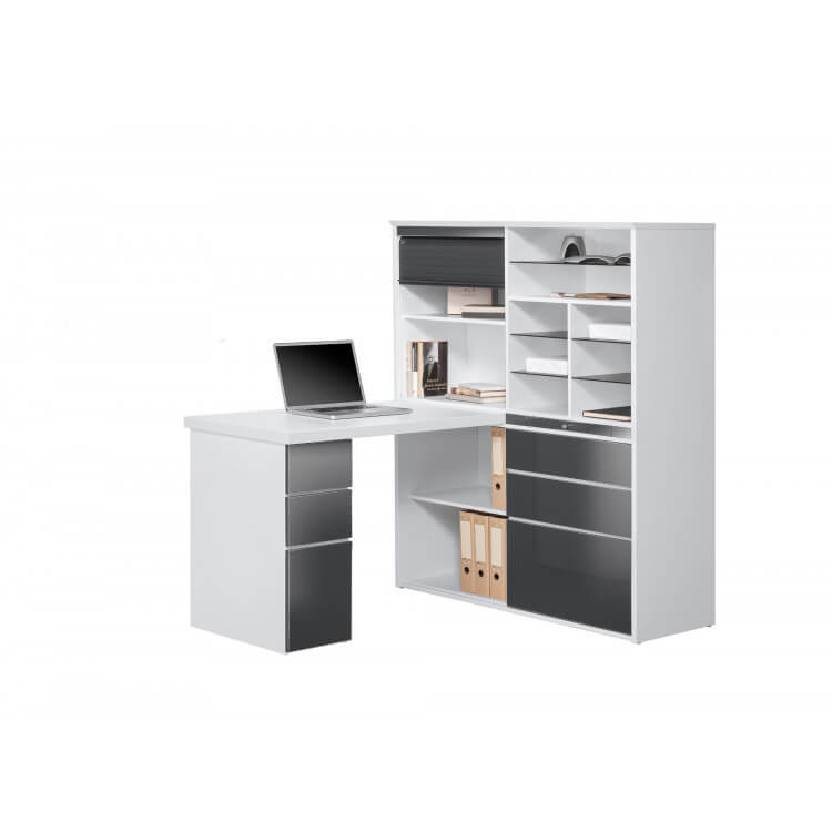 bureau contemporain avec rangement blanc gris brillant souade. Black Bedroom Furniture Sets. Home Design Ideas