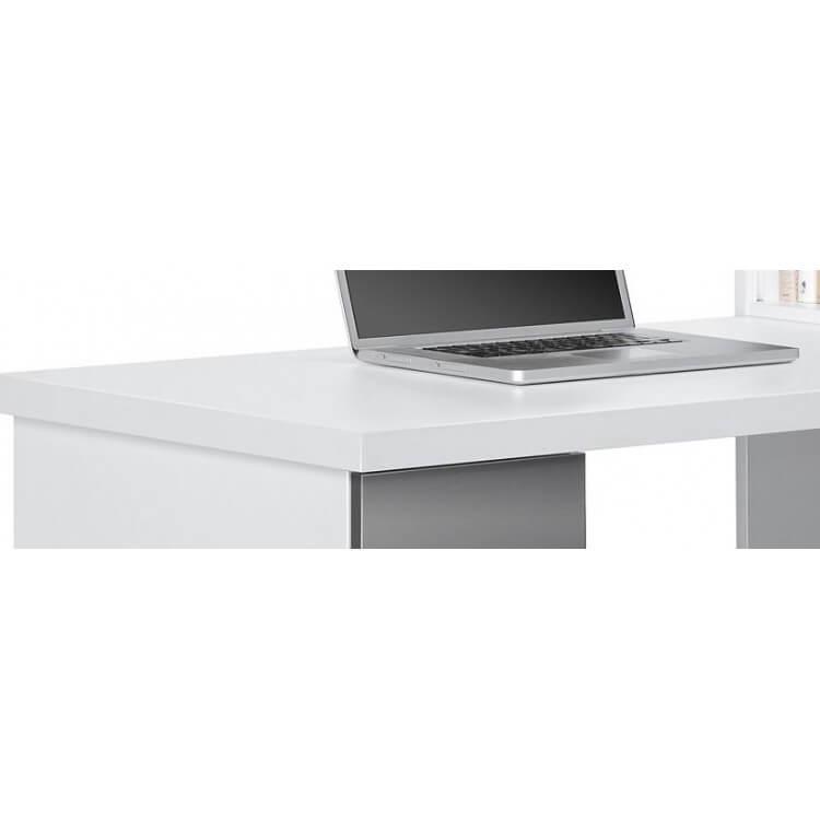 Bureau contemporain avec rangement blanc gris brillant souade for Bureau contemporain