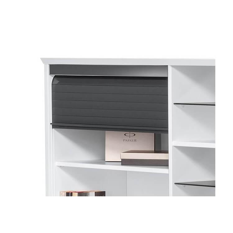 bureau contemporain avec rangement blanc gris brillant souade. Black Bedroom Furniture Sets. Home Design Ideas