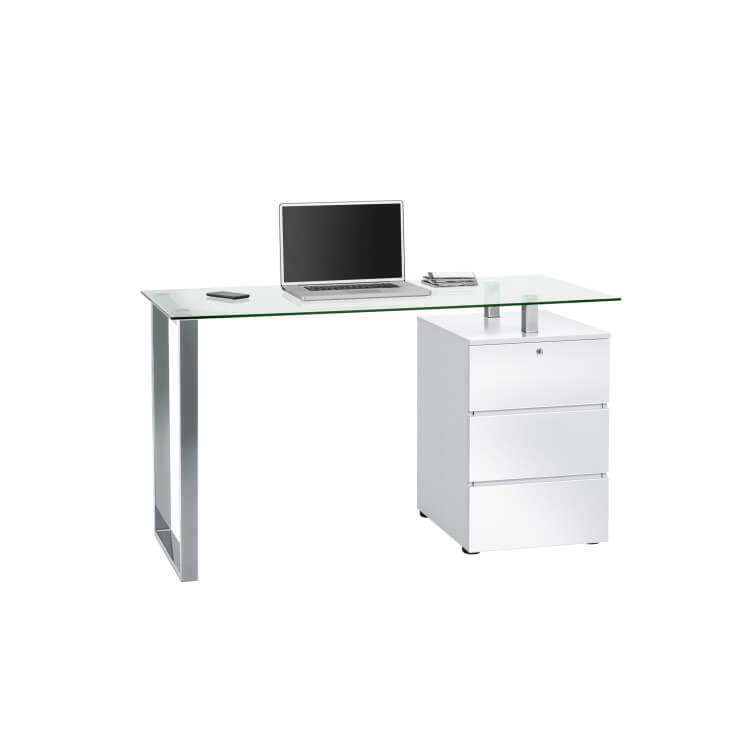 Bureau informatique design métal & verre Filippo