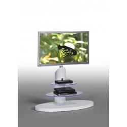 Meuble TV design bois & verre coloris blanc Sidonie