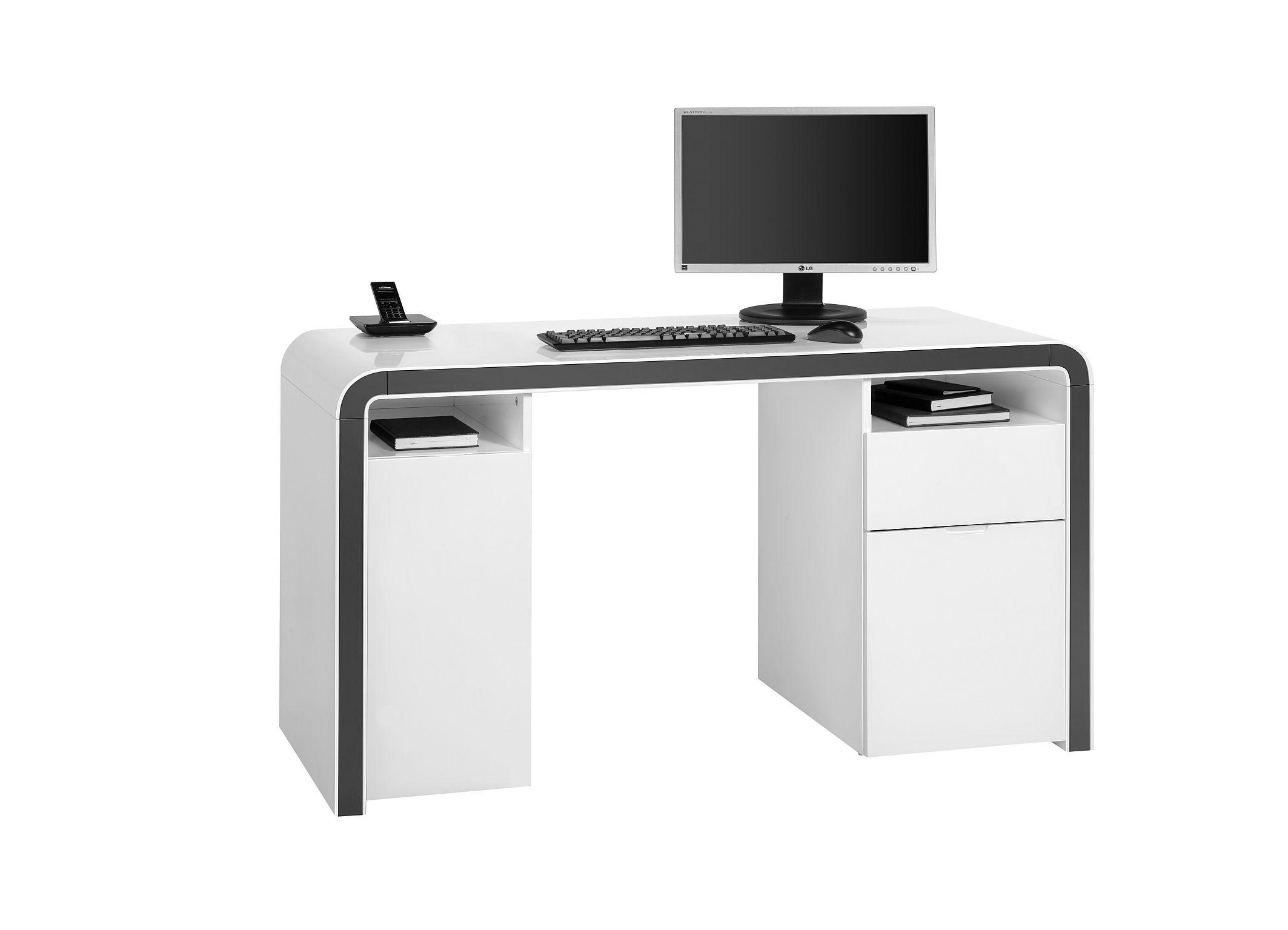 Bureau informatique design laqué blanc hortense