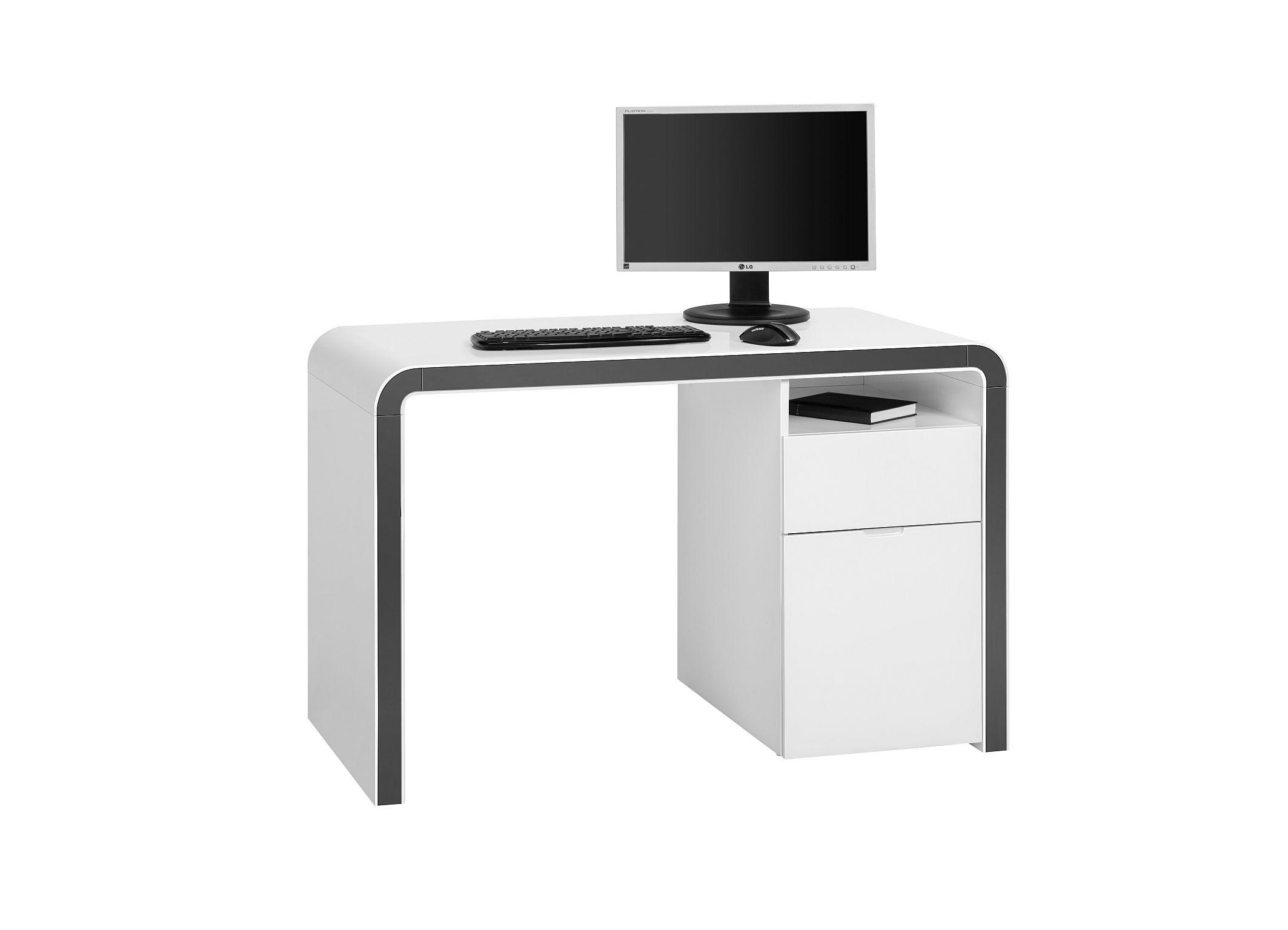 Bureau informatique design laqu blanc sintra - Bureau informatique blanc laque ...