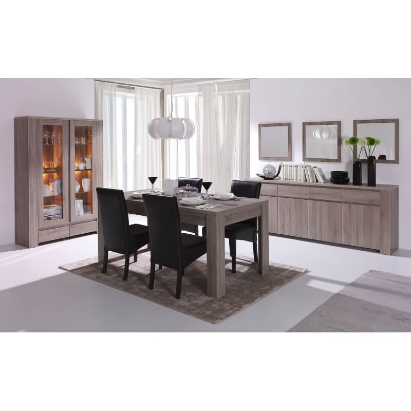 table de salle manger contemporaine ch ne truffe indra. Black Bedroom Furniture Sets. Home Design Ideas