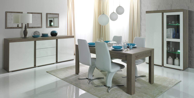 Salle à manger contemporaine chêne truffe/blanc laqué Delfino