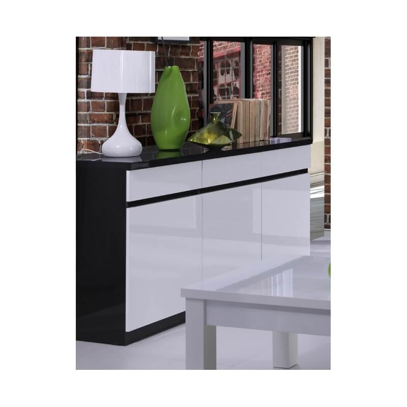 buffet bahut design 3 portes laqu noir blanc fabrizio. Black Bedroom Furniture Sets. Home Design Ideas