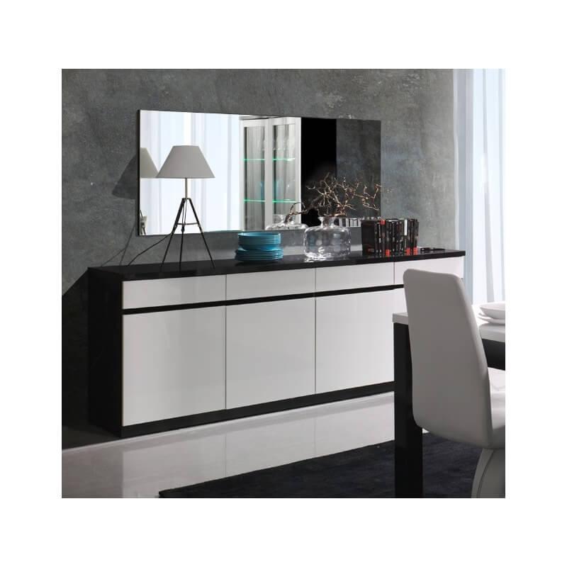 buffet bahut design 4 portes laqu noir blanc fabrizio. Black Bedroom Furniture Sets. Home Design Ideas
