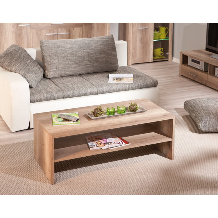 Table basse rectangulaire contemporaine coloris chêne Sylvano
