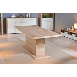 Table de salle à manger extensible contemporaine chêne clair Sylvano