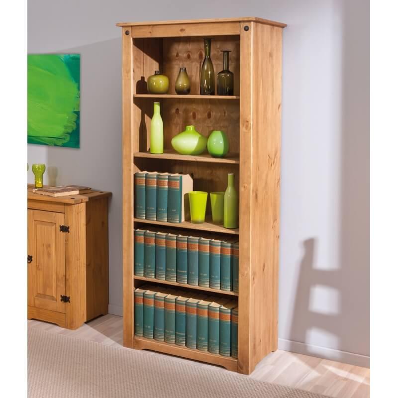 biblioth que rustique en pin massif ch ne cir mexico. Black Bedroom Furniture Sets. Home Design Ideas