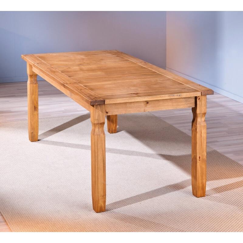 table de salle manger rustique en pin massif ch ne cir. Black Bedroom Furniture Sets. Home Design Ideas