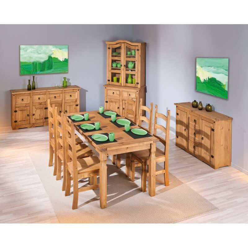 table de salle manger rustique en pin massif ch ne cir mexico. Black Bedroom Furniture Sets. Home Design Ideas
