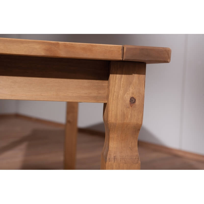 table de salle manger rustique en pin massif ch ne cir mexico. Black Bedroom Furniture Sets. Home Design Ideas