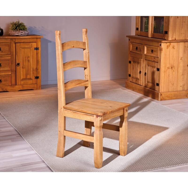 Chaise de salle manger rustique en pin massif ch ne cir - Salle a manger rustique en chene massif ...