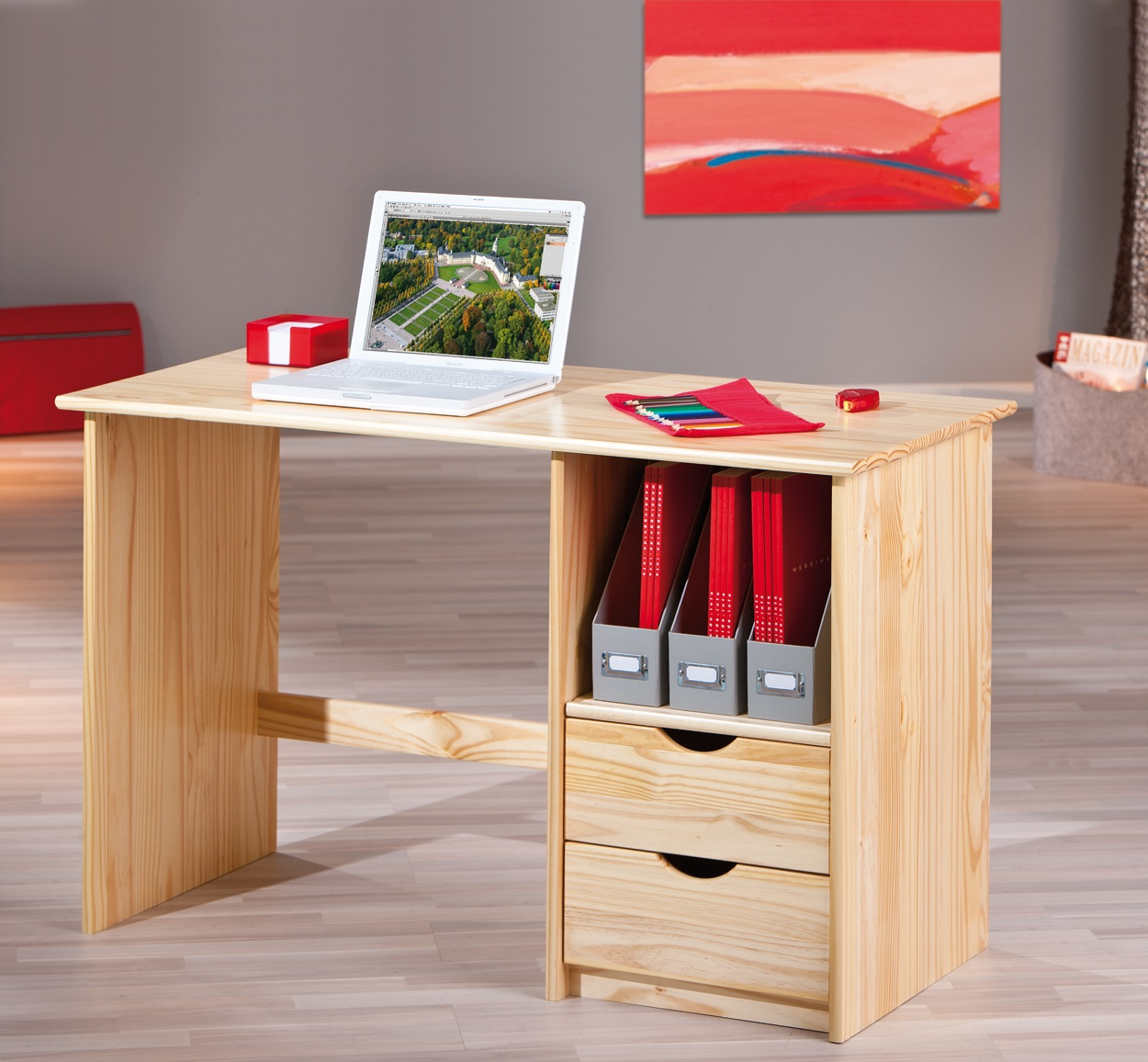 Bureau contemporain en pin massif naturel Linus