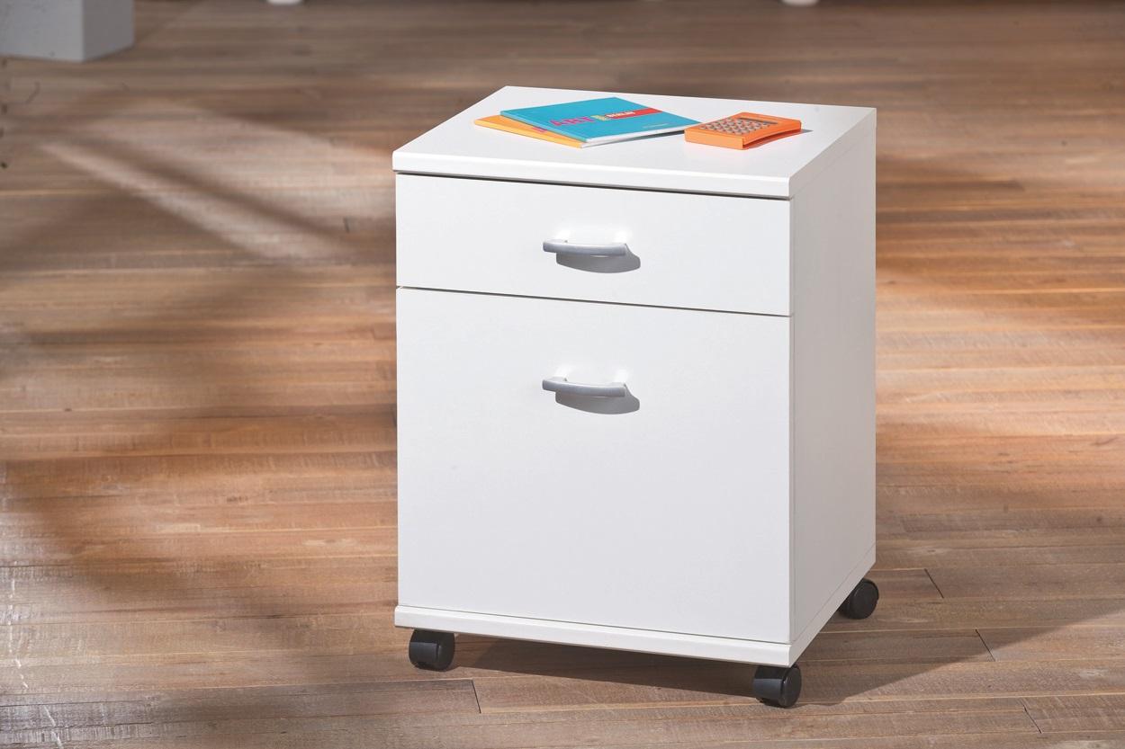 Caisson de bureau contemporain 1 porte 1 tiroir blanc polka