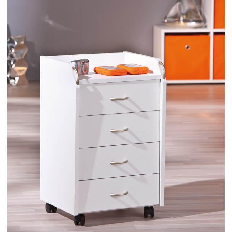 Caisson de bureau contemporain 4 tiroirs blanc Pontino