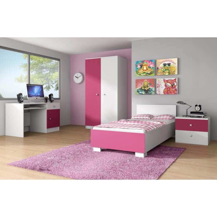 chambre enfant compl te contemporaine blanche rose mika. Black Bedroom Furniture Sets. Home Design Ideas