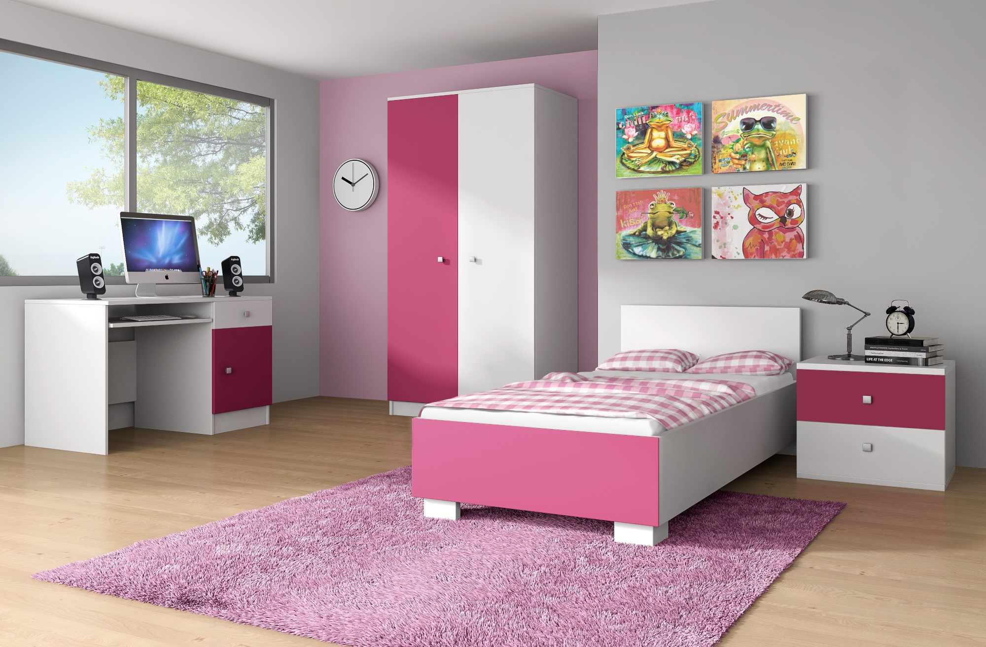 chambre enfant compl te contemporaine blanche rose mika. Black Bedroom Furniture Sets. Home Design Ideas