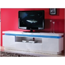 Meuble TV design 2 portes/1 tiroir blanc laqué Quimper