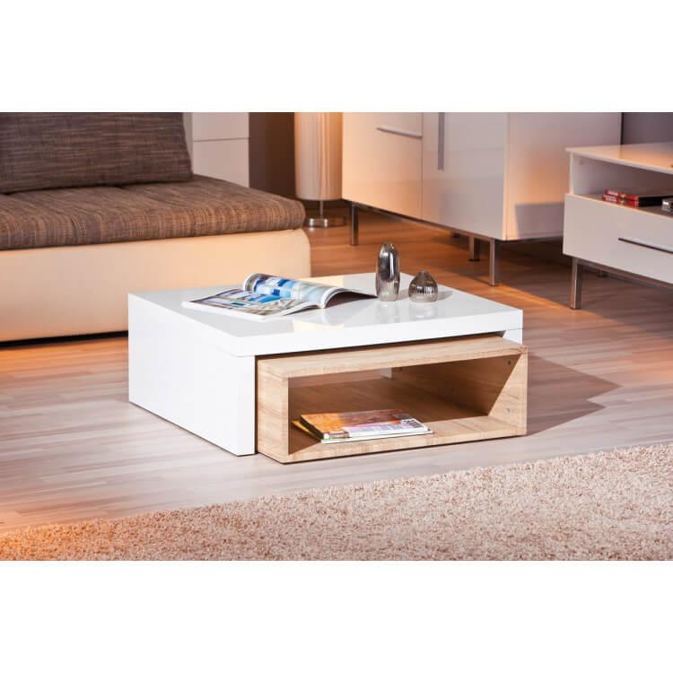Table Basse Design En Bois Coloris Blancnaturel Nolane