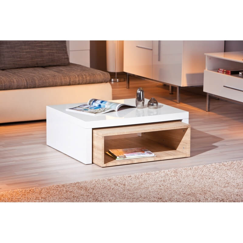 table basse design en bois coloris blanc naturel nolane. Black Bedroom Furniture Sets. Home Design Ideas