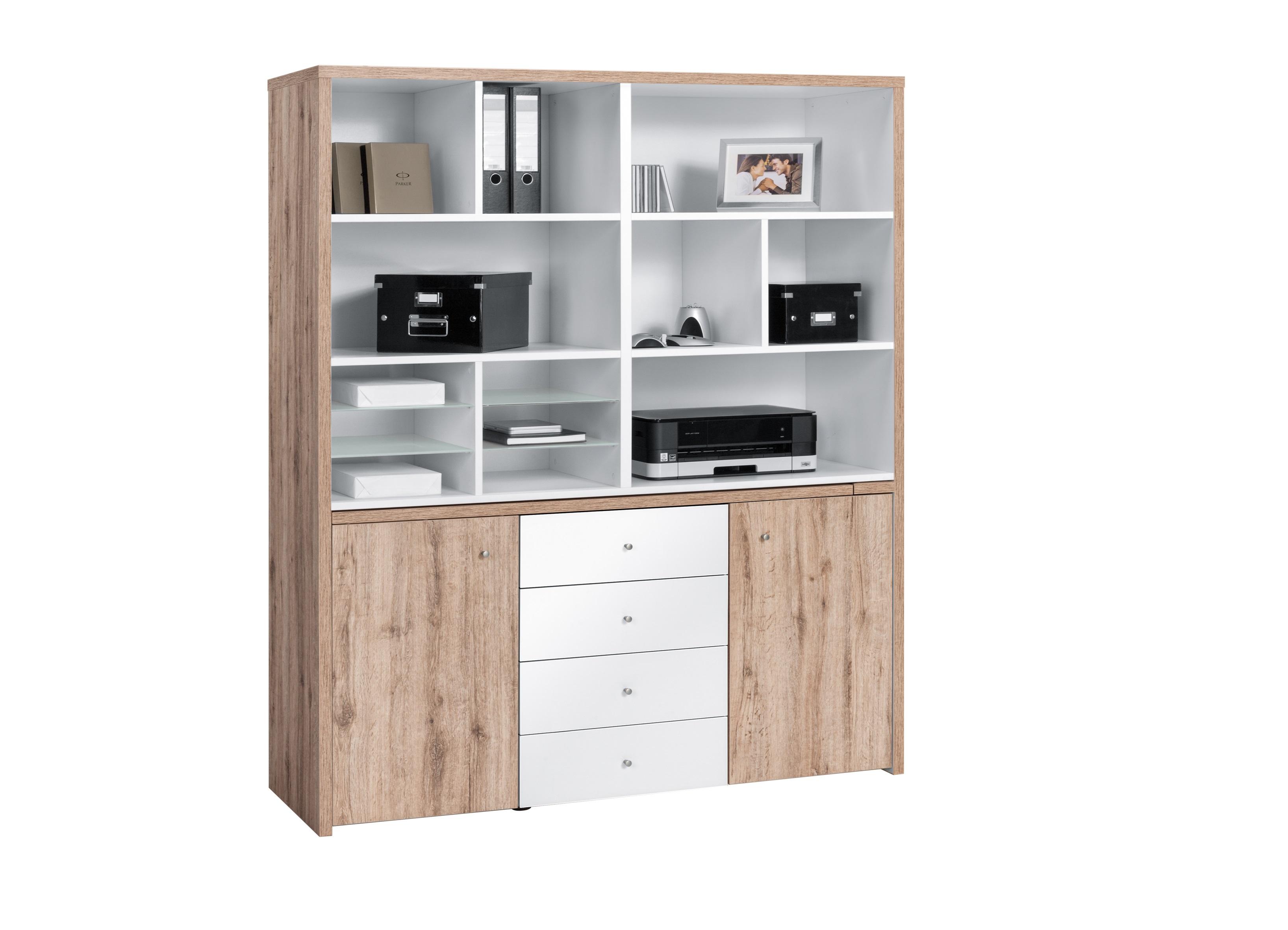 Bureau modulable contemporain avec rangement chêne blanc cody