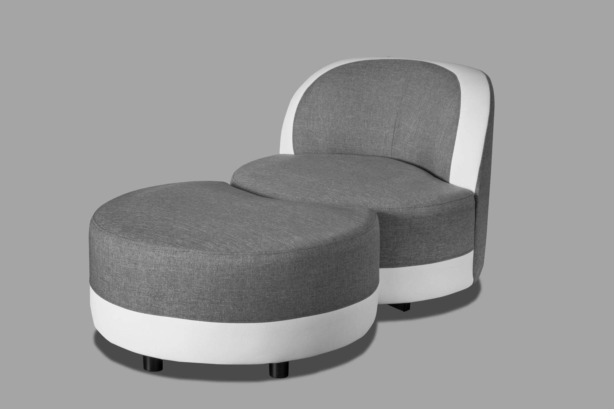 Fauteuil pivotant design rond en tissu gris/blanc avec pouf Manureva