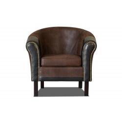 Fauteuil cabriolet tissu/PU coloris marron/noir Grazia