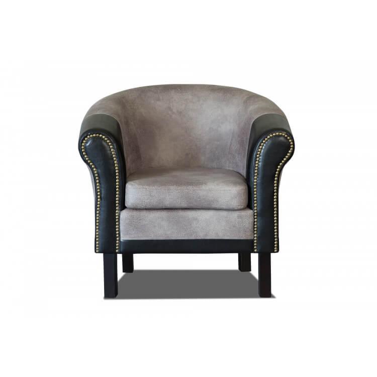 Fauteuil cabriolet tissu/PU coloris gris/noir Grazia