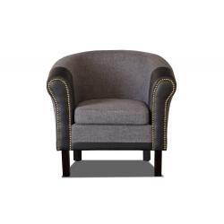 Fauteuil cabriolet tissu/PU coloris gris foncé/noir Grazia