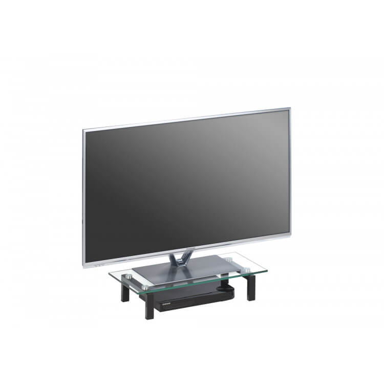 Surmeuble pour téléviseur en verre coloris noir Atilia III