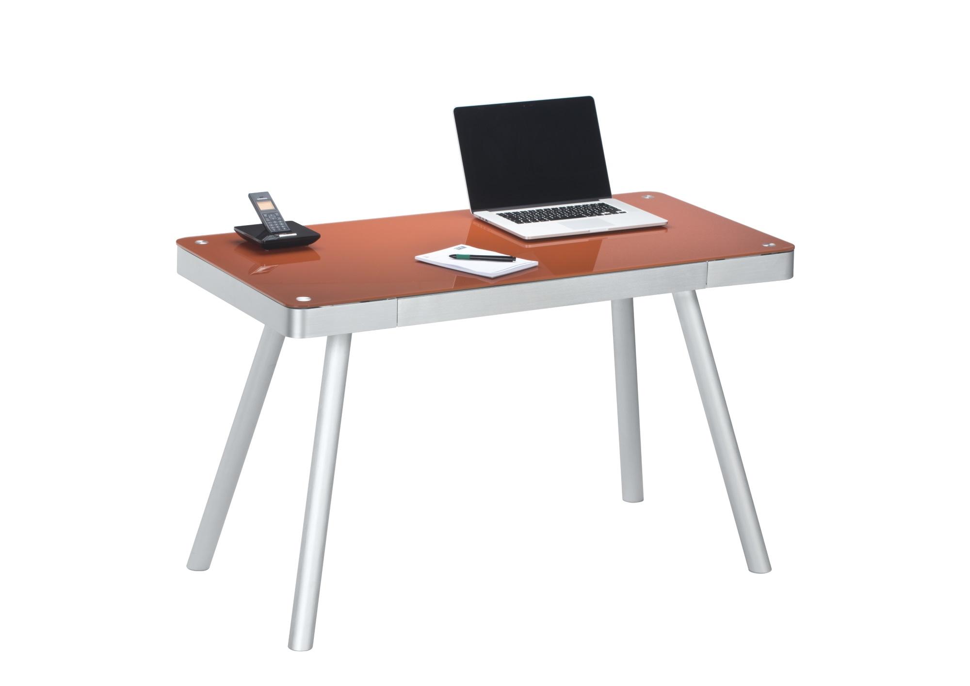 Bureau informatique design métal et verre coloris rouge pastel harty