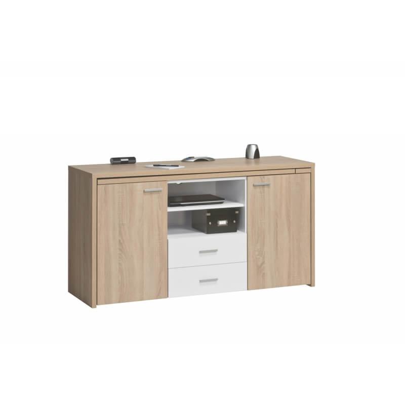 bureau informatique contemporain en bois ch ne sonoma blanc albanie. Black Bedroom Furniture Sets. Home Design Ideas