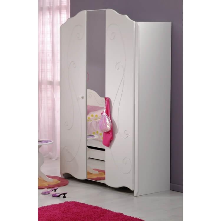Armoire enfant 2 portes contemporaine blanc megève Malicia